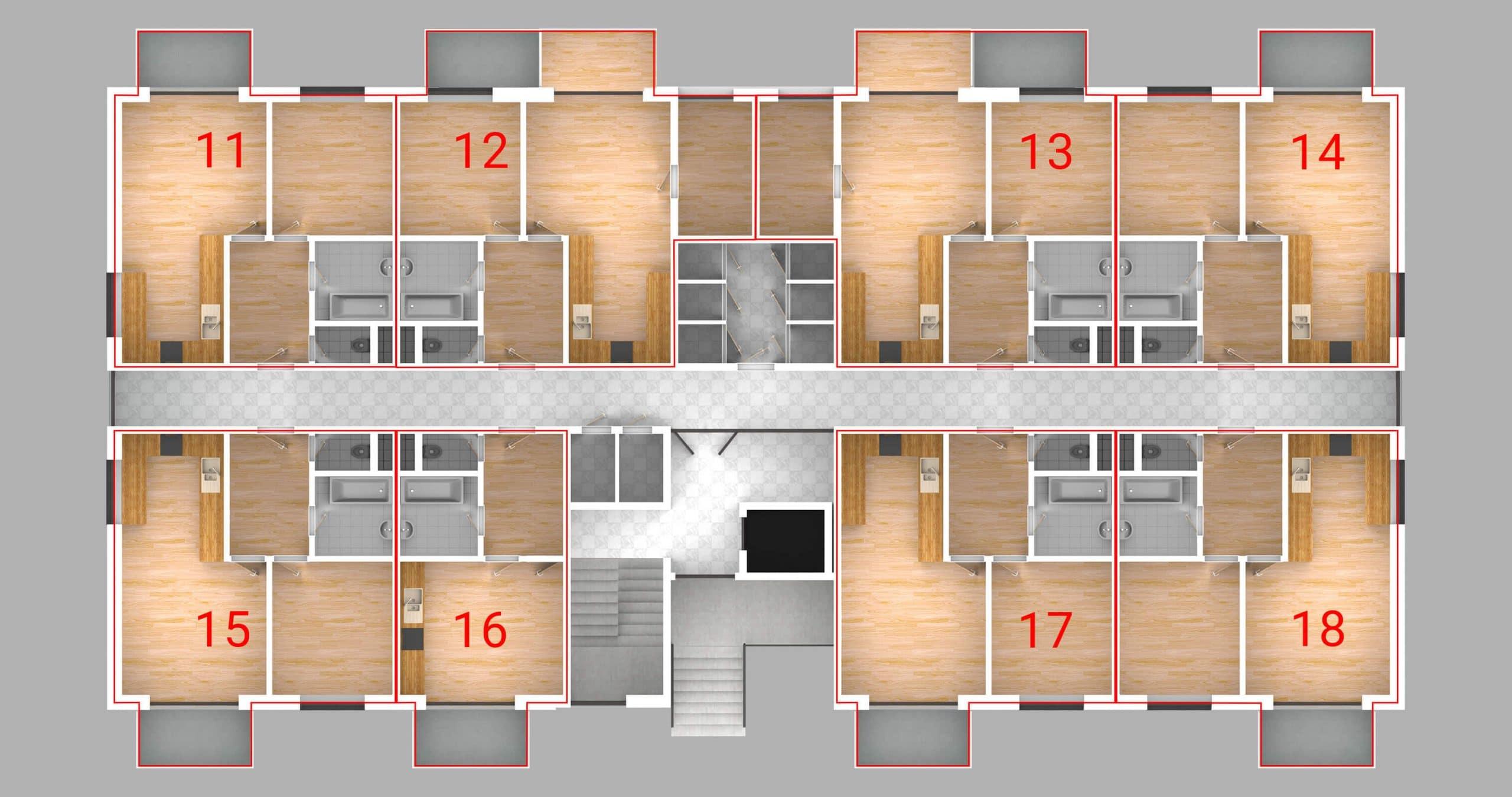 Bytový dom vivien - dispozície bytov 1.P