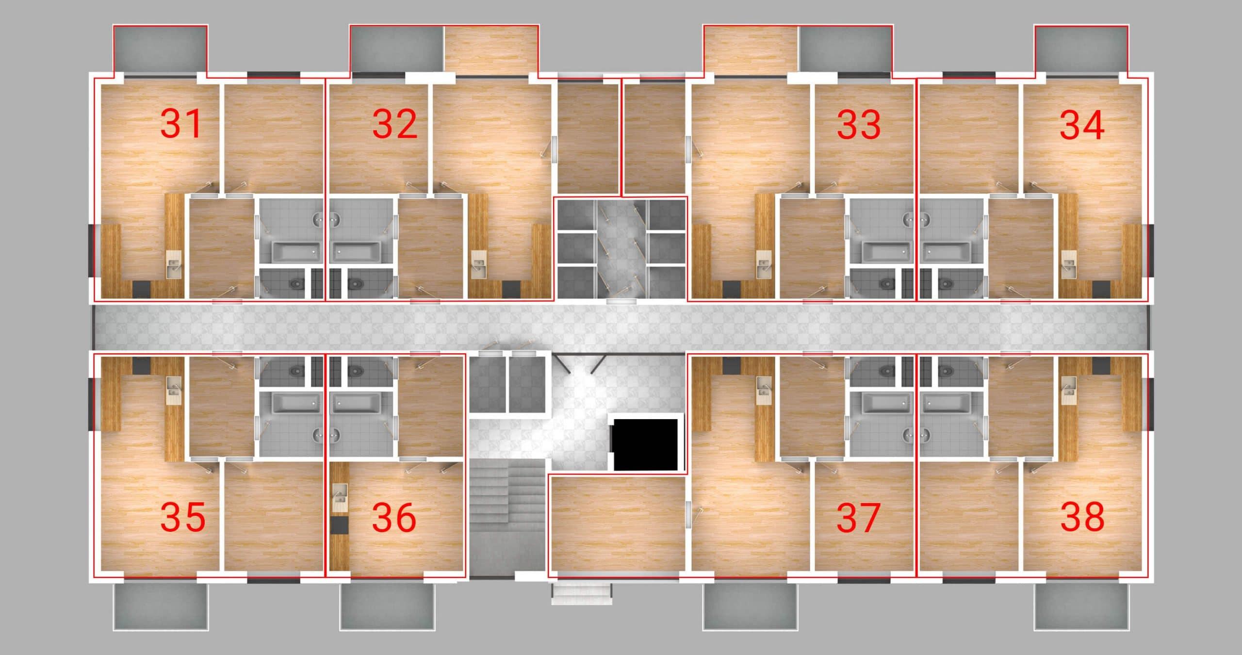 Bytovy dom vivien dispozicie bytov 3.P scaled